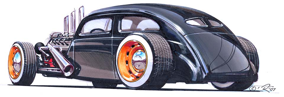 How to draw a Hot Rod